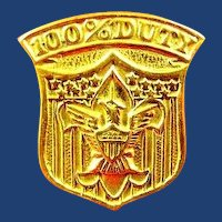 US Boy Scout 100% Duty Pin Award XX (Gold) Plate 1910's