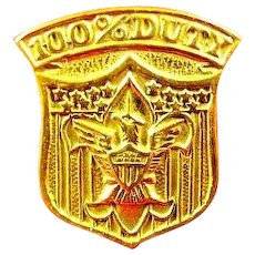 US Boy Scout 100% Duty Pin Award XX (Gold) Plate 1910's