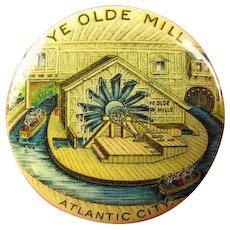 Ye Olde Mill Steel Pier Atlantic City NJ Souvenir Advertising Pinback Button (1901-1910)