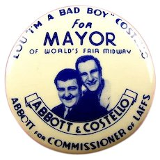 1939 New York World's Fair Abbott & Costello Souvenir Pinback Button Rare