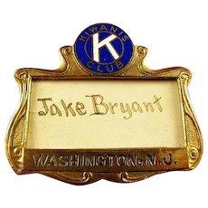 Kiwanis Club Washington, N.J. ID Badge ca. 1920's-30s