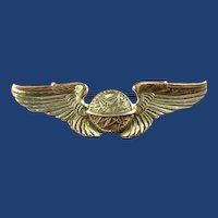 WWII US Army Air Corps Navigator Wings Frosted Back Pinback Sterling