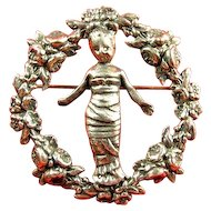 Sterling CINI Della Robbia Infant Baby JESUS Rose Wreath Pin Brooch
