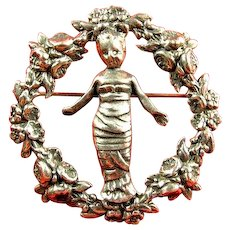 Sterling CINI Della Robbia Infant Baby JESUS Rose Wreath Pin Brooch
