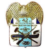 WWII US 42nd Naval Construction Batallion Seabees Distinguished Insignia DI