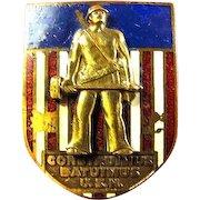 WWII US Naval Construmius Batuimus U.S.N. Seabees CB's Distinguished Insignia Badge Pin Enameled Scarce!
