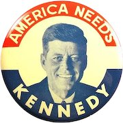 "1960 America Needs Kennedy Political Campaign Pinback Button Celluloid 4"" Rare!"