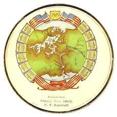 1915 Panama Canal Calendar Plate Advertising Souvenir Allendale (NJ) Home Bakery W. F. Kornhoff