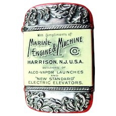 Marine Engine & Machine Co. Advertising Match Holder ca. 1900-1910