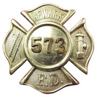 Newark, New Jersey Fire Department Badge #573 ca. 1920's