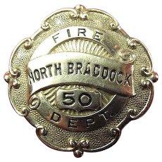 North Braddock, PA Fire Department Badge ca, 1930's