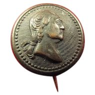 George Washington Bi-Centennial Birthday Brass Shell Pinback Button 1932