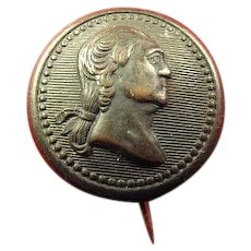 George Washington Bi-Centennial Birthday Brass Shell Pinback Button 1932
