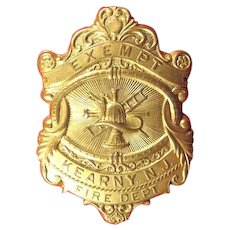 Kearny, NJ Exempt Fire Department Badge, ca. 1910s-20s