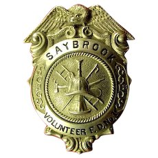 (Old) Saybrook, Connecticut Volunteer Fire Department No. 1 Fire Badge ca. 1930's