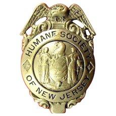 Humane Society of New Jersey Badge ca. 1920's