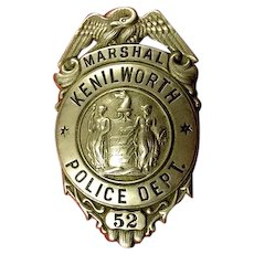 Kenilworth (NJ) Police Department Marshal #52 Badge ca. 1930's