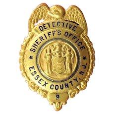 Essex County, NJ Sheriff's Office Detective #9 Badge ca, 1930s