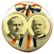 William J. Bryan and Adlai E. Stevenson Democratic Presidential Political Campaign Pinback Button 1900