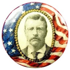 1904 Theodore Teddy Roosevelt Flag Red White & Blue Political Campaign Pinback Button 1-1/4""