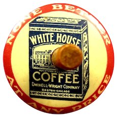 White House Coffee Celluloid Advertising Toy Spinning Top ca. 1920's