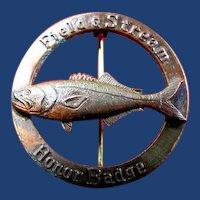 Field & Stream Honor Badge Fishing Award Pin Bluefish ca. 1950's