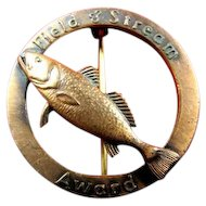 Field & Stream Fishing Award Badge Pin Weakfish ca. 1950's