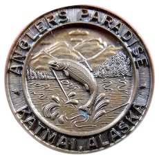Anglers Paradise Katmai, Alaska Fishing Badge Pin