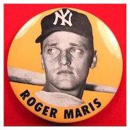 "New York Baseball Player Roger Maris Pinback Button 3-1/2""  ca. 1960-1962"