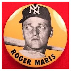 "New York Baseball Player Roger Maris Pinback Button 3-1/2""  ca. 1960-1962"