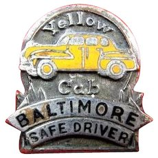 Yellow Cab Taxi Baltimore Safe Driver Award  Pin ca. 1940s-1950
