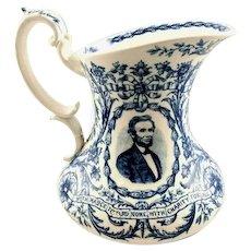 Abraham Lincoln Blue & White Staffordshire Porcelain Centennial Commemorative Pitcher 1809-1909 Cauldon, England