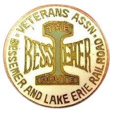 """Bessemer & Lake Erie Railroad """"The Bessemer Line"""" Veterans Assn. Lapel Pin ca. 1900-1920"""