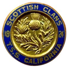 T.S.S. California Steamship Oceanliner Cunard-Anchor Line Scottish Clans Cruise Pin 1924