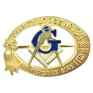 Masonic Charity Lodge #134 Maryland 50th Anniversary Pin 1868-1918 Sterling/GF