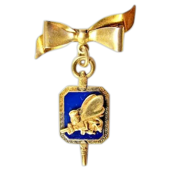 WWII US Navy CB's Construction Battalion Sweetheart Pin Sterling/GF