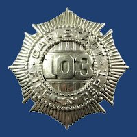 Carlstadt, New Jersey Fire Dept. Badge Sunburst/Handshaking Style Rare ca. 1910-1920