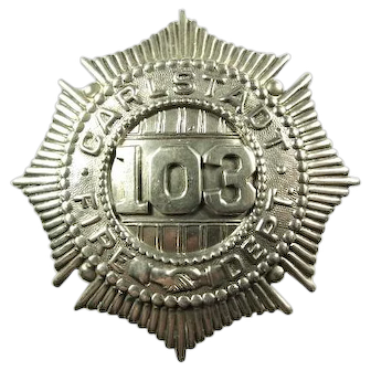 Carlstadt, New Jersey Fire Badge Starburst/Handshaking Style Rare ca. 1910-1920