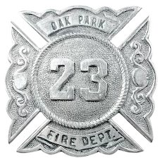 Oak Park (West Side Chicago) Illinois Fire Department Cap Badge #23 early 1900's