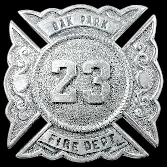 Oak Park (West Side Chicago) Illinois Fire Department Cap Badge #23 early 1900's