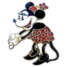 1930's Walt Disney Enameled Minnie Mouse Pin (Original!)