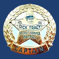 1938 Dick Tracy Secret Service Patrol Captain Badge Quaker Radio Premium