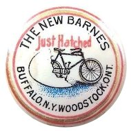 The New Barnes Just Hatched Bicycle Advertising Lapel Stud Button ca. 1896