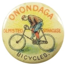Onondaga Bicycles H.R. Olmstead & Son Syracuse, NY Advertising Lapel Stud 1896