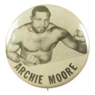Original Light Heavyweight Champion Archie Moore Pinback Button ca. 1940's