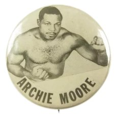 Original Light Heavyweight Champion Archie Moore Pinback Button ca. 1940's