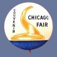 1933 Chicago Worlds Fair Souvenir Pinback Button