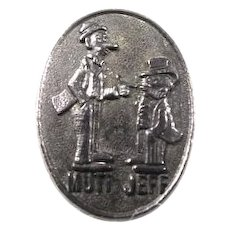 Newspaper Comic Strip Characters Mutt and Jeff metal Lapel Stud Pin ca. 1910