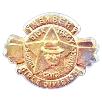 1939 Member Dick Tracy Secret Service Patrol Girls Division Quaker Cereal Premium Lapel Pin
