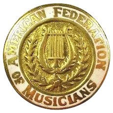 American Federation of Musicians Lapel Pin Early 1900's